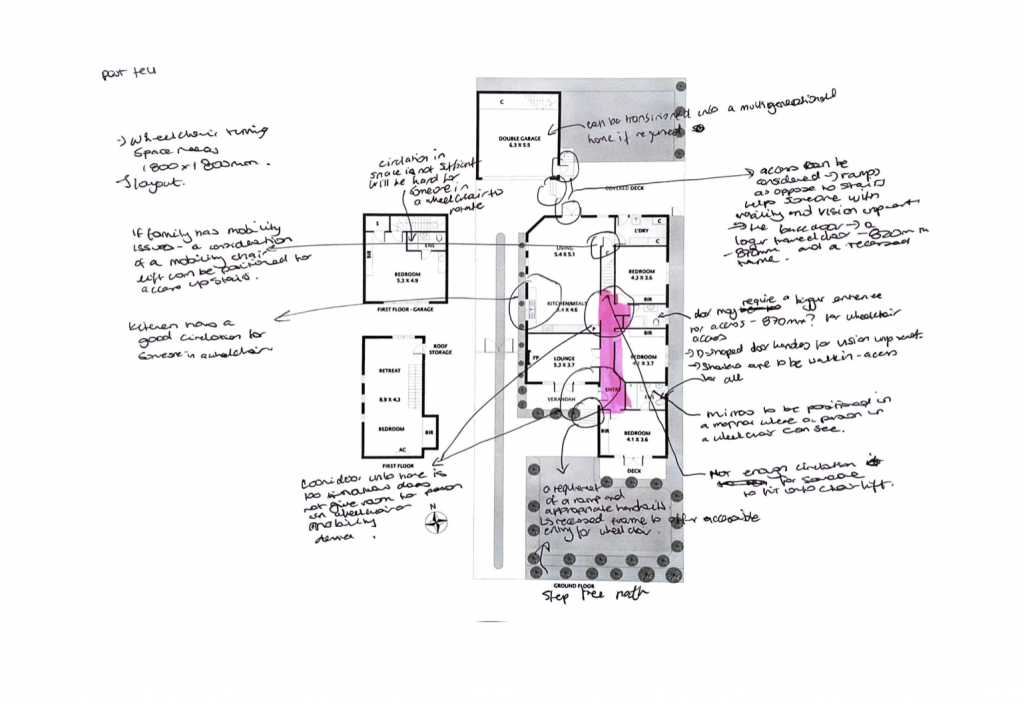 A small-scale plan of an existing 'Californian Bungalow' in Melbourne's southeastern suburbs. An accessibility analysis is scribbled around the perimeter of the plan.